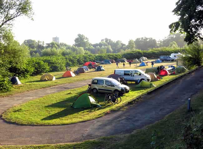 Walking in France: Camping at Nevers - our tent is the second on the left
