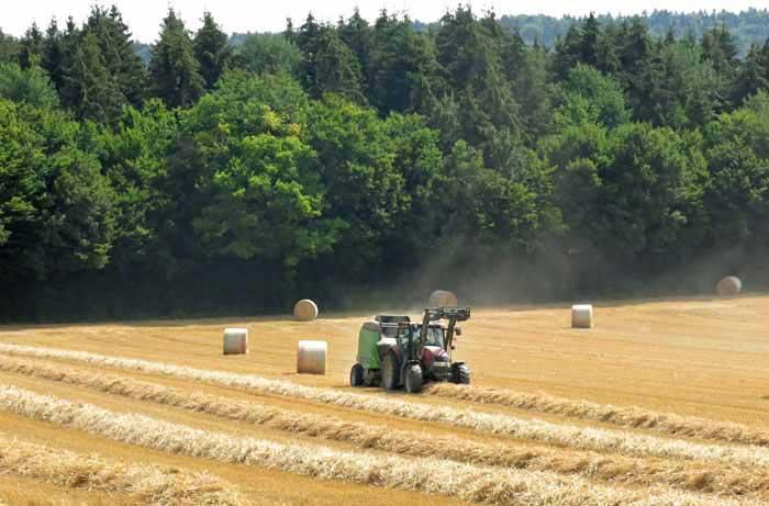 Walking in France: The farmer making the hayrolls
