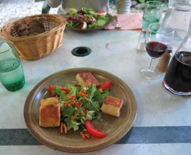 Walking in France: Keith's entrée, three crisply fried seafood parcels with salad