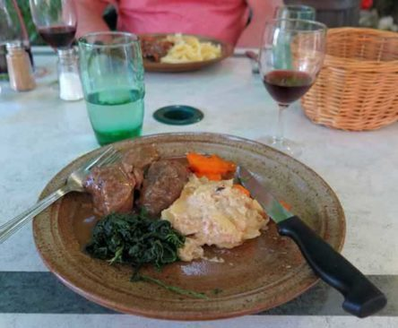 Walking in France: And sautéed veal with potato gratin, spinach and carrots for me