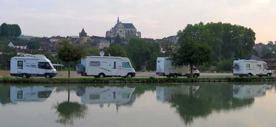 Walking in France: Looking across the Canal of Burgundy to the mighty church of St-Florentin