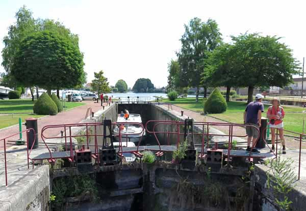 Walking in France: Looking back from the canal's final lock