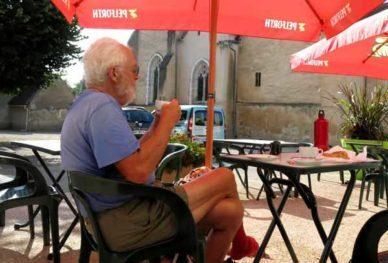 Walking in France: Enjoying the hotel/bar